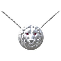 14 Karat White Gold Pendant Necklace 18 Inch Leo Lion with Ruby Eyes
