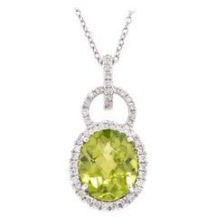 14 Karat White Gold Peridot and Diamond Necklace