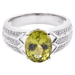 14 Karat White Gold Peridot and Diamond Ring
