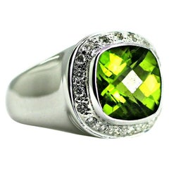 14 Karat White Gold Peridot and Diamond Wide Ring