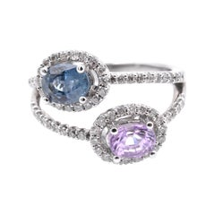 14 Karat White Gold Pink and Blue Sapphire and Diamond Bypass Ring
