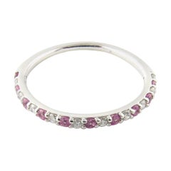 14 Karat White Gold Pink Gemstone and Diamond Ring