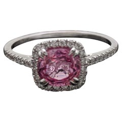 14 Karat White Gold Pink Spinel and Diamond Ring