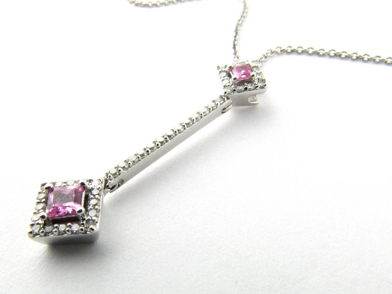 14 Karat White Gold Pink Topaz and Diamond Pendant Necklace In Good Condition For Sale In New Milford, CT