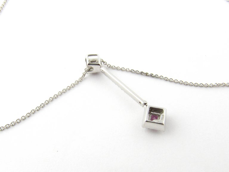 Women's 14 Karat White Gold Pink Topaz and Diamond Pendant Necklace For Sale
