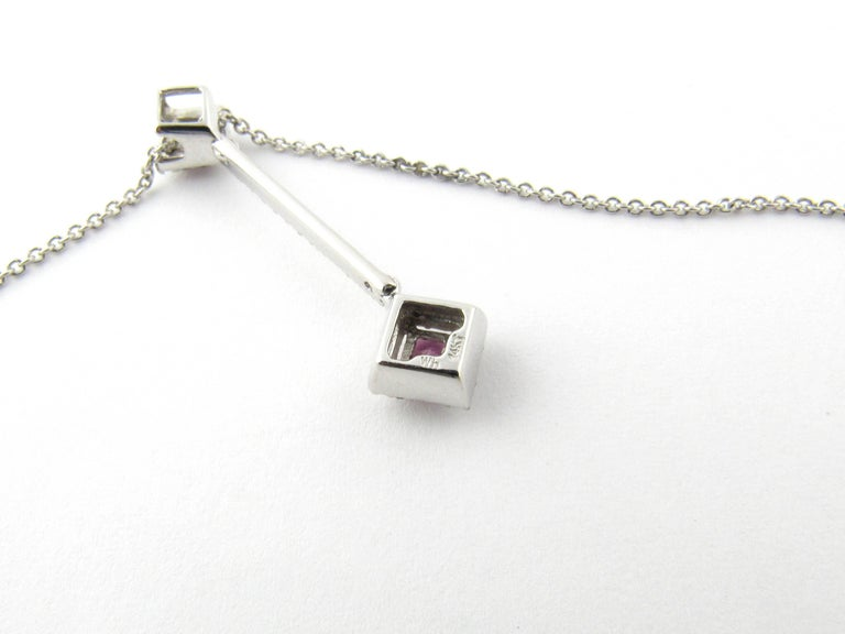 14 Karat White Gold Pink Topaz and Diamond Pendant Necklace For Sale 1