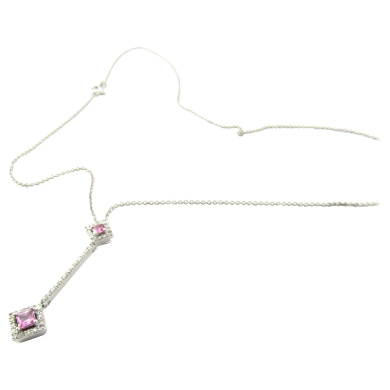 14 Karat White Gold Pink Topaz and Diamond Pendant Necklace For Sale