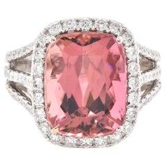 14 Karat White Gold Pink Tourmaline and Diamond Ring