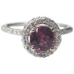 14 Karat White Gold Pink Tourmaline Diamond Halo Ring