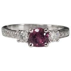14 Karat White Gold Pink Tourmaline Diamond Ring