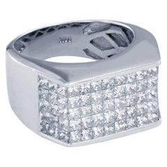 14 Karat White Gold Pinky Ring with 2.5 Carat Diamonds