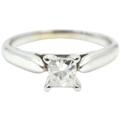 14 Karat White Gold Princess Cut 0.46 Carat Diamond Wedding Band