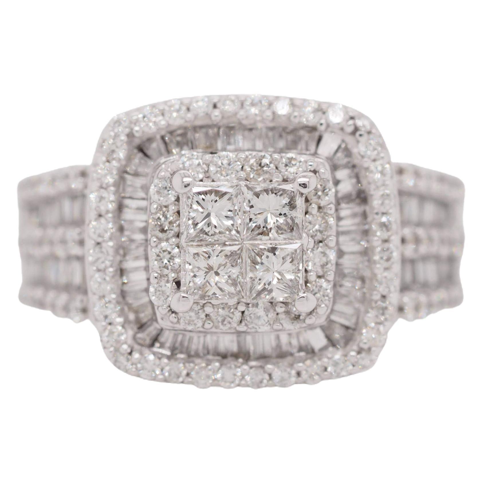 14 Karat White Gold Princess Cut Diamond Cluster Halo Style Engagement Ring