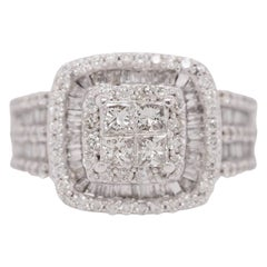 14 Karat White Gold Princess Cut Diamond Cluster Halo Style Engagement Ring