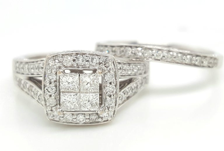 Contemporary 14 Karat White Gold Princess Cut Diamond Cluster Halo Style Ring Set For Sale