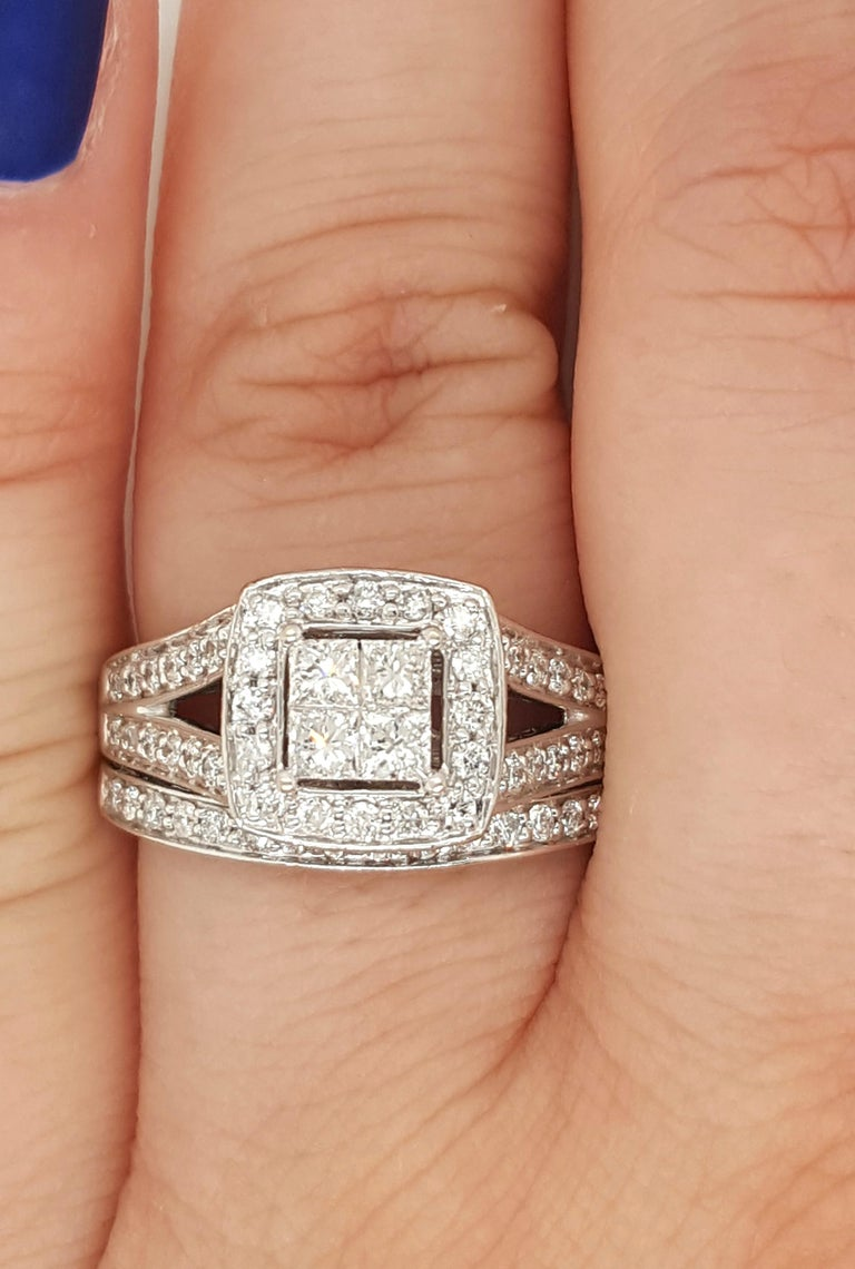 Round Cut 14 Karat White Gold Princess Cut Diamond Cluster Halo Style Ring Set For Sale