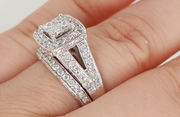 14 Karat White Gold Princess Cut Diamond Cluster Halo Style Ring Set In Excellent Condition For Sale In Addison, TX