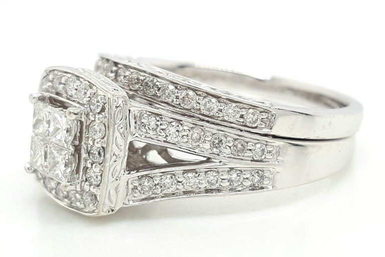 14 Karat White Gold Princess Cut Diamond Cluster Halo Style Ring Set For Sale 3
