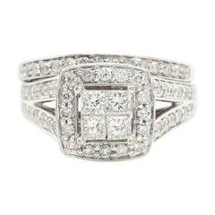 14 Karat White Gold Princess Cut Diamond Cluster Halo Style Ring Set