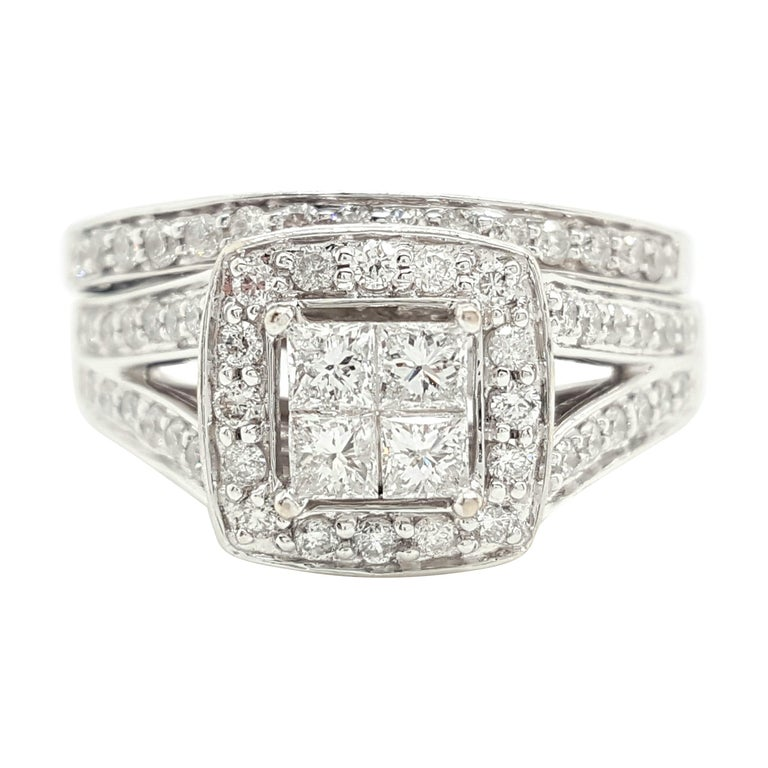 14 Karat White Gold Princess Cut Diamond Cluster Halo Style Ring Set For Sale