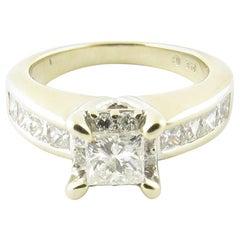 14 Karat White Gold Princess Cut Diamond Engagement Ring 1.16 Carat