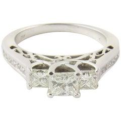 14 Karat White Gold Princess Cut Diamond Engagement Ring 1.17 Carat