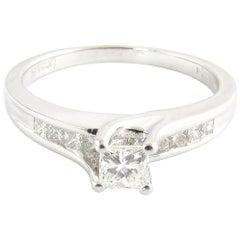 14 Karat White Gold Princess Cut Diamond Engagement Ring