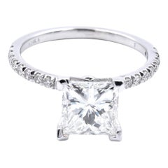 14 Karat White Gold Princess Cut Diamond Engagement Ring