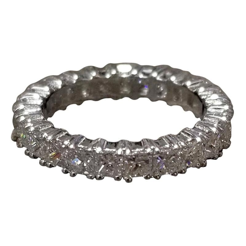 14 Karat White Gold Princess Cut Diamond Eternity Ring with 3.50 Carat