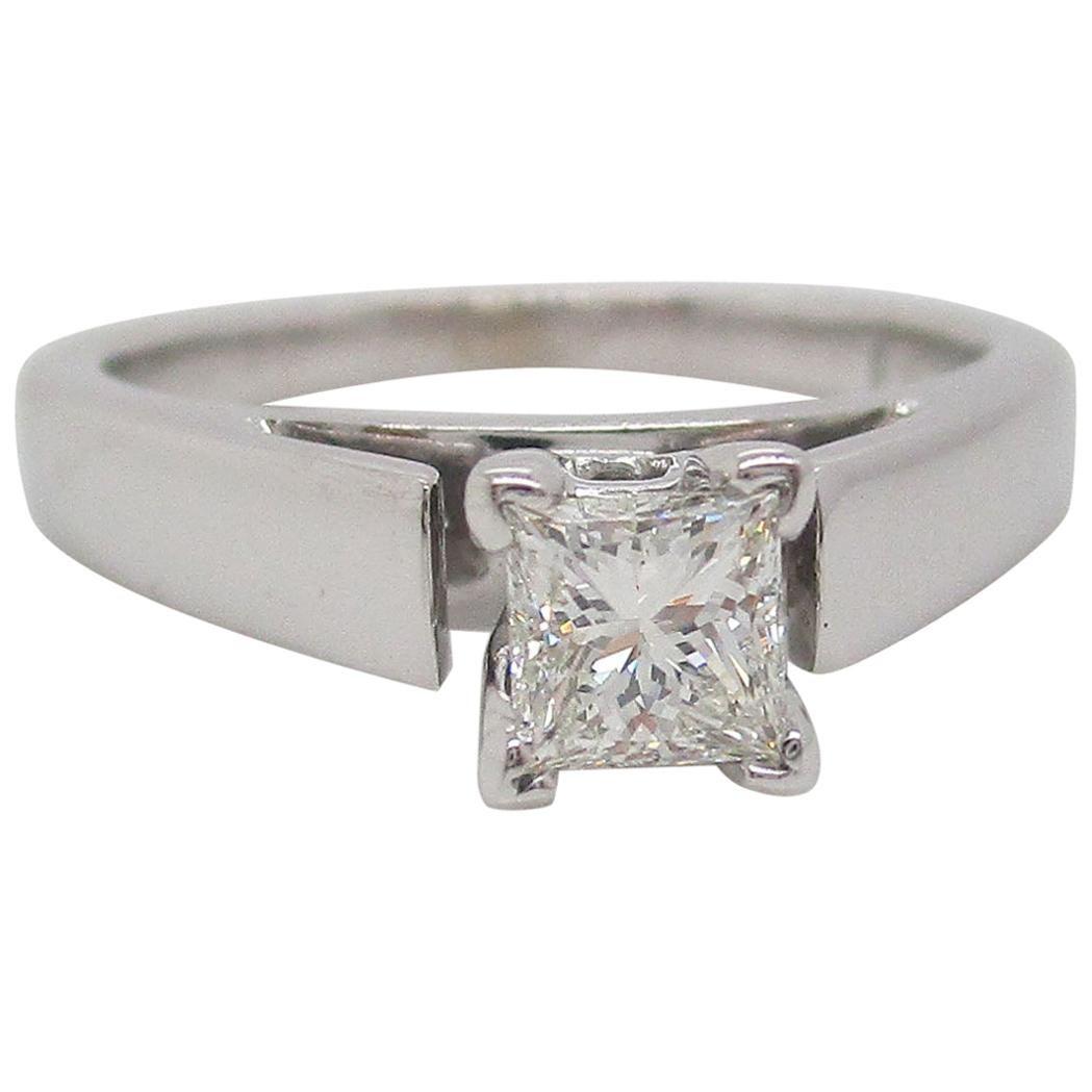 14 Karat White Gold Princess Cut Diamond Solitaire Engagement Ring
