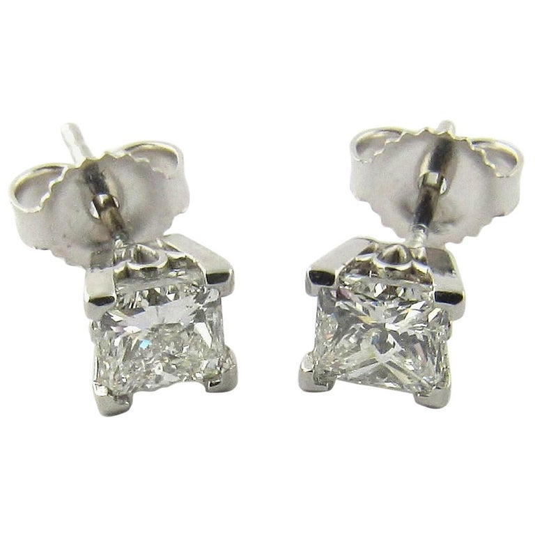 aed962a221dae 14 Karat White Gold Princess Cut Diamond Stud Earrings .80 Carat