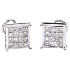 14 Karat White Gold Princess Cut Invisible Set Diamond Stud Earrings