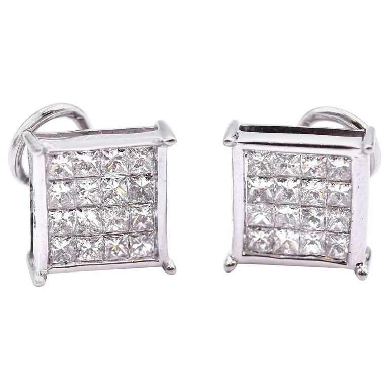 de87ea24c 14 Karat White Gold Princess Cut Invisible Set Diamond Stud Earrings For  Sale