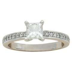 14 Karat White Gold Princess Diamond Engagement Ring