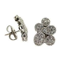 14 Karat White Gold Push Back Stud Earrings with Round Diamonds 1.60 Carat