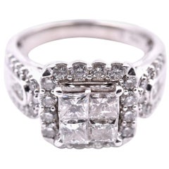 14 Karat White Gold Quadset Diamond Engagement Ring