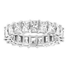 14 Karat White Gold Radiant Eternity Diamond Ring '6 Carat'
