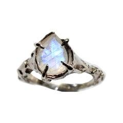 14 Karat White Gold Rainbow Moonstone Pear Ring