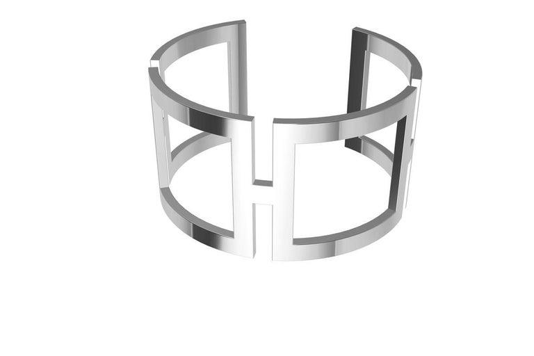 14 Karat White Gold Rectangle Cuff Bracelet For Sale 3
