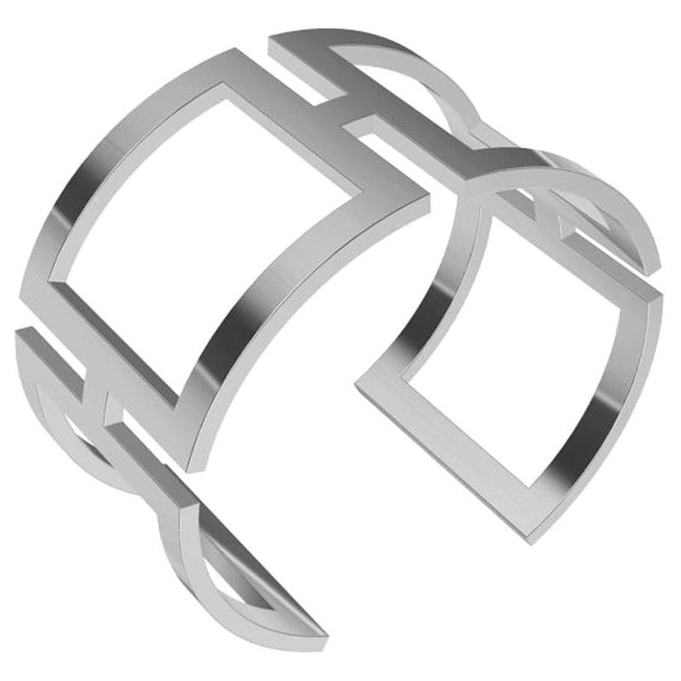 14 Karat White Gold Rectangle Cuff Bracelet For Sale