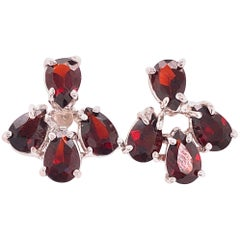 14 Karat White Gold Red Colored Stone Button Earrings
