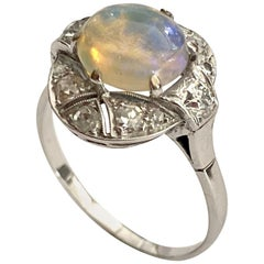 14 Karat White Gold Ring, Set with Opal and 12 Diamonds, Dutch 1950
