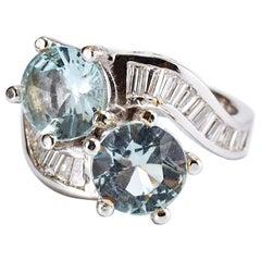 14 Karat White Gold Ring with 2 Aquamarine and Diamonds