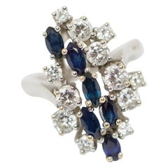 14 Karat White Gold Ring with Diamonds and Sapphires