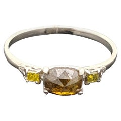 14 Karat White Gold Rose Cut Diamond and Yellow Diamonds Ring