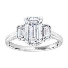 14 Karat White Gold Rosie Three-Stone Emerald Diamond Ring 'Center: 1.63-Carat'