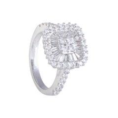 14 Karat White Gold Round and Baguette Cut Diamond Engagement Ring