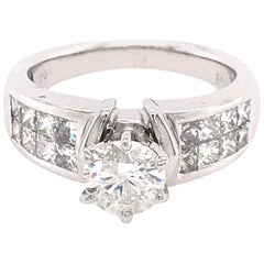 14 Karat White Gold Round and Princess Cut Diamond Engagement Ring