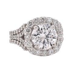 14 Karat White Gold Round Brilliant Cut Diamond Engagement Ring EGL Certified