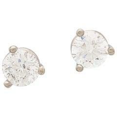 14 Karat White Gold Round Brilliant Cut Diamond Stud Earrings 1.02 Carat SI2/H